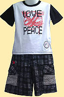 Комплект для мальчика LOVE PEACE - футболка и шортики