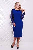 Женское Нарядное трикотажное платье Адель электрик гипюр (48-58)