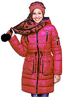 Зимнее пальто с шарфом для девочки, разные расцветки