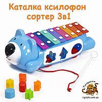 Каталка ксилофон сортер, металлофон каталка