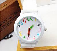 Красочные женские часы со стрелками-карандашами силиконовый ремешок