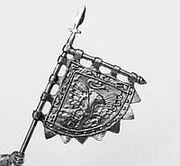 Оловянная фигура. Викинг со знаменем