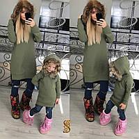 Детская туника с начесом и мехом енота на капюшоне