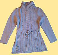 Свитер - туника детская вязанная, с длинным рукавом, р. 130, 140 см