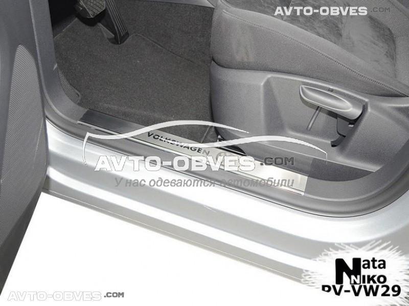 Накладки на пороги VW Tiguan 2007 - 2015 на пластик, передние 2 шт