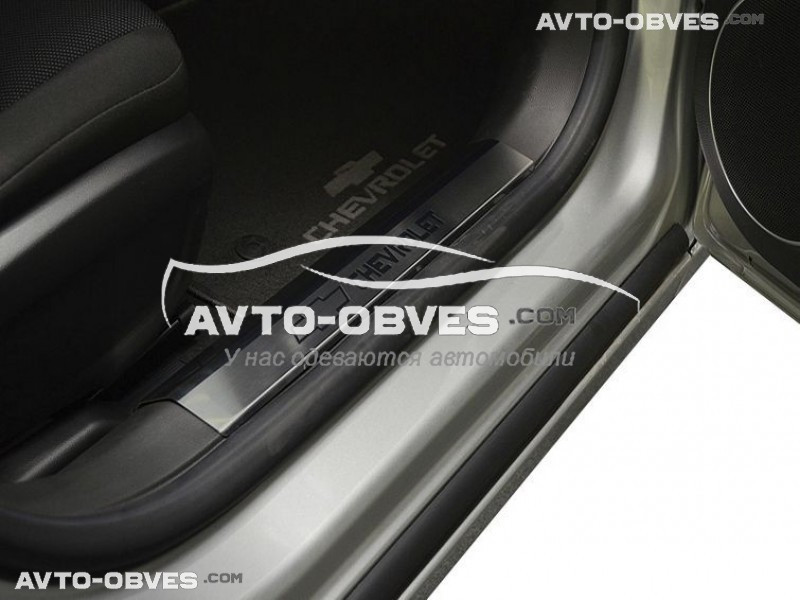 Накладки на пороги Chevrolet Cruze 4D, 5D на пластик, передние 2 шт