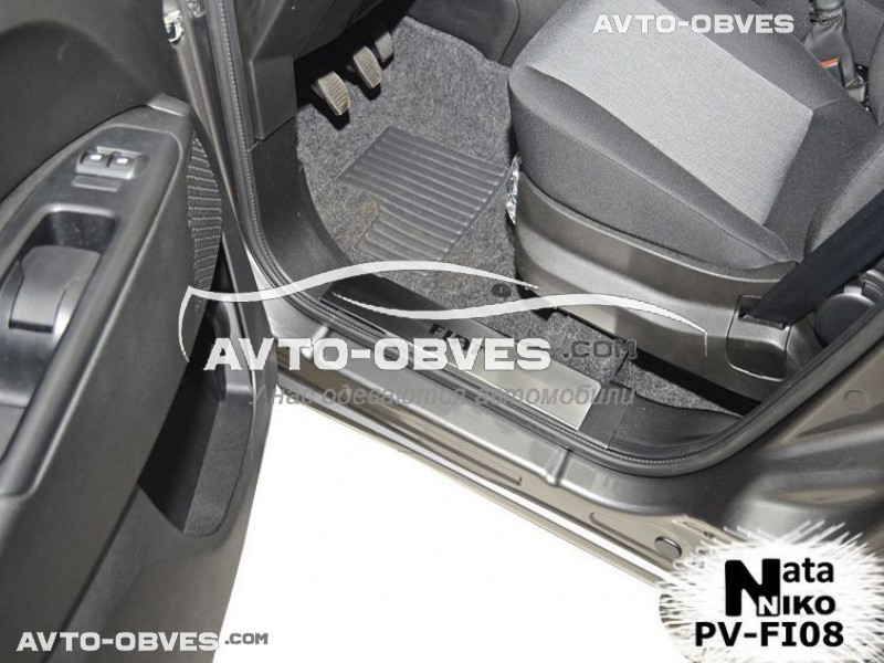 Накладки на пороги Fiat Doblo II_III Maxi 2010-2014 на пластик, передние 2 шт