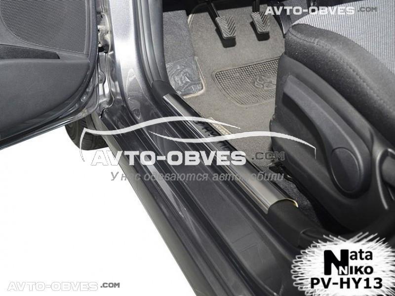 Накладки на пороги Hyundai Accent IV на пластик, передние 2 шт