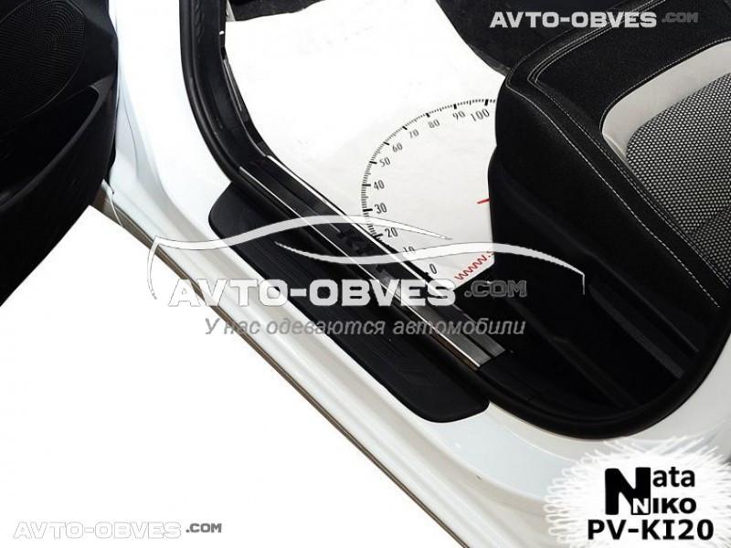 Накладки на пороги Kia Ceed SW JD 2013-2018, Ceed II 5D 2013-2018 на пластик, передние 2 шт