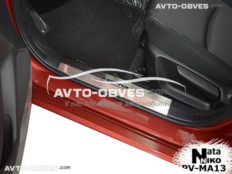 Накладки на пороги Mazda 3 2013 - ... на пластик, передние 2 шт