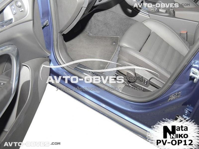 Накладки на пороги Opel Insignia 4D 2008-2013 на пластик, передние 2 шт