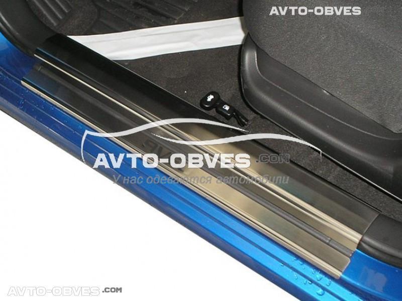 Накладки на внутренние пороги Шевролет Авео I/II 4D / 5D 6 шт.