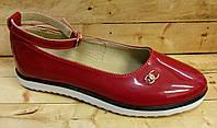 Туфли кожаные красные для девочки размеры 31-35