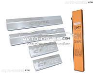 Накладки на внутренние пороги Honda Civic 4D 2006-2012