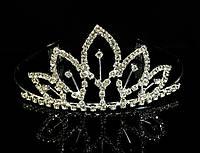 Диадема корона с гребешками, высота 5,3 см, серебристая