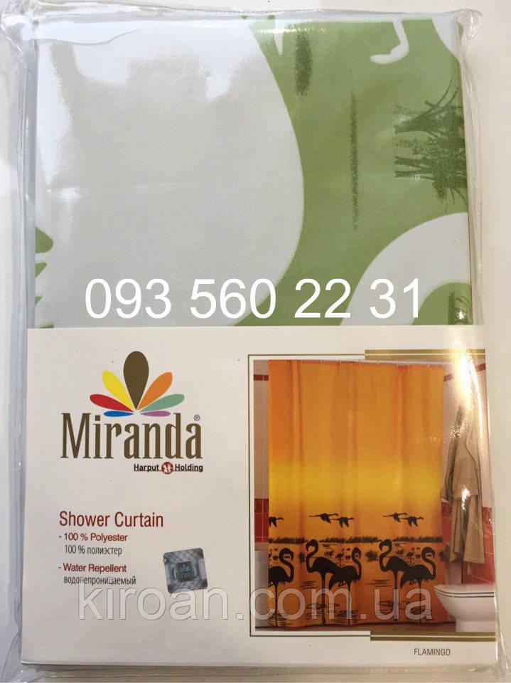 Шторка для ванной MIRANDA фламинго, зеленый
