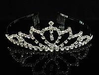 Диадема корона с гребешками, висюля, высота 3,5 см