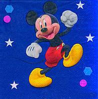 """Салфетки бумажные """"Mickey Mouse синий"""". В упак: 15 шт."""