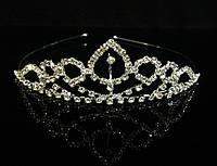 Диадема корона на металлическом обруче, высота 3,3 см, серебристая