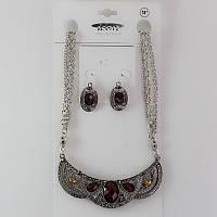 Красивое женское колье и серьги набор серебристого цвета с камнями цвета марсала, фото 1