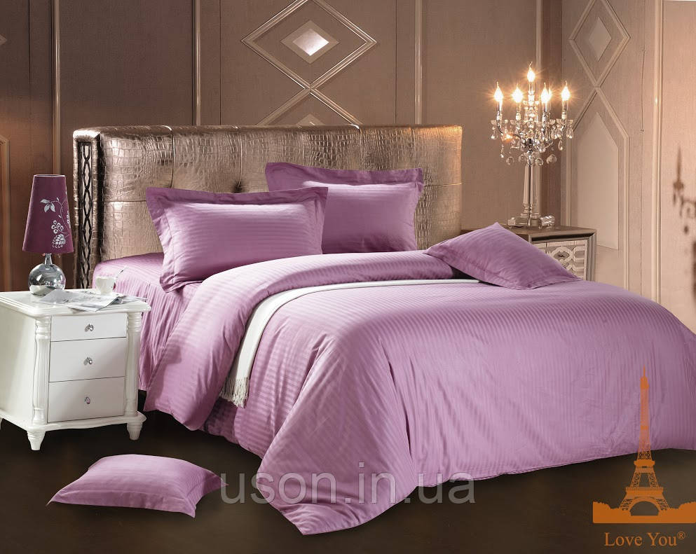 Комплект постельного белья страйп сатин love you  фиолетовый семейный размер