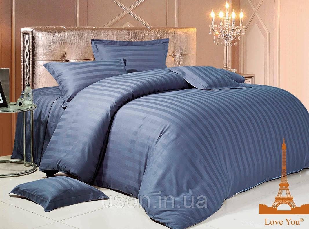 Комплект постельного белья страйп сатин love you  семейный размер Темно-синий