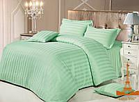 Комплект постельного белья страйп сатин love you  семейный размер Зеленый