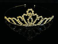 Диадема корона на металлическом обруче, высота 3,5 см, золотистая