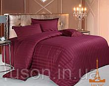 Комплект постельного белья страйп сатин love you  двуспальный евро размер бордр