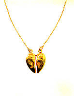 Колье Xuping сердце, позолота, длина 46-50 см
