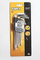 Набор шестигранных ключей с шаром 1,5-10 мм. 9 шт. TOPEX 35D957