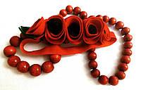 Детская повязка на голову Маки красные 5цветочков