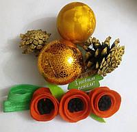 Детская повязка на голову Маки оранжевые 3цветочка