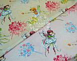 """Ткань хлопковая """"Цветочные феи"""" на фоне бежевых полосочек, № 557а, фото 5"""