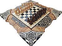 """Эксклюзивные шахматы-нарды ручной работы с трехцветной резьбой """"Гроздья винограда"""""""""""