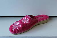 Тапочки жіночі махрові з вишивкою, розові