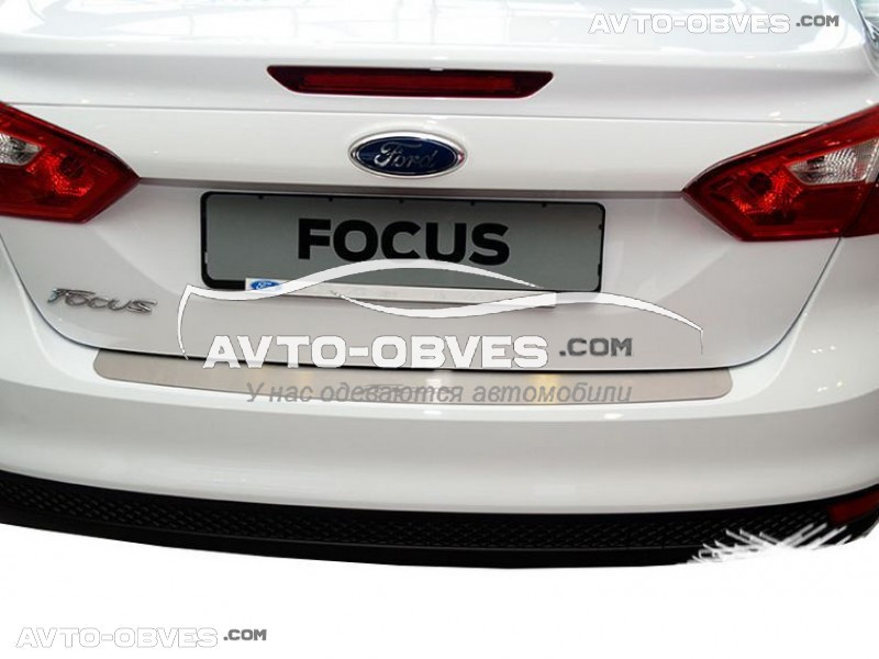 Накладка на задний бампер Ford Focus III 4D 2011-2016 без загиба