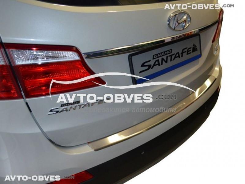 Накладка на задний бампер с загибом для Hyundai Santa Fe Grand 2013-2016