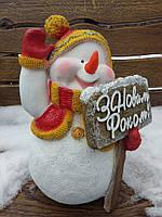 """Снеговик с табличкой """"З новим роком"""" H-34см, фото 1"""