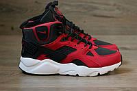 Зимние кроссовки Nike Air Huarache красные (хуарачи)