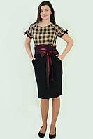 """Платье женское , силуэт """"рюмочка"""" , приталенное, пл 144-2, 46-54 , одежда для полной молодежи, по колено."""