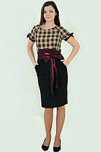 Платье сарафан по колено рюмочка пл 144-2, 46-54 , одежда для полной молодежи, по колено.