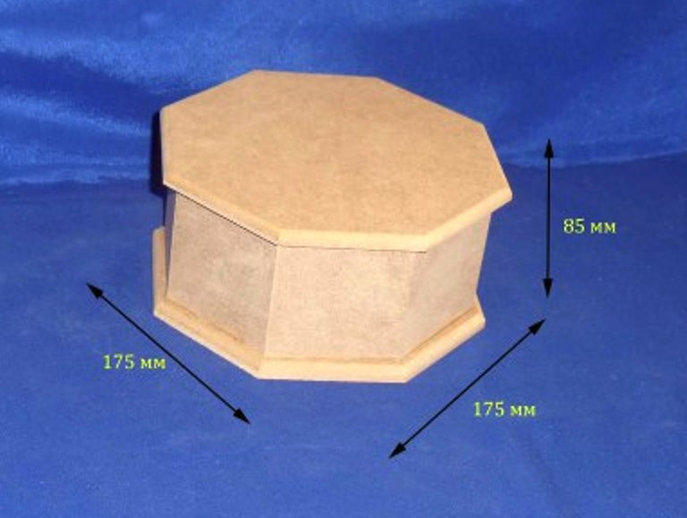 Шкатулка 8-ми гранная 17.5/19х8.5 см МДФ заготовка для декора
