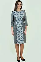Платье нарядное серое приталенное стрейч ботал пл 137-1