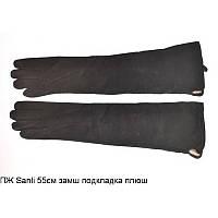 Длинные женские перчатки из замши и кожи 55 см