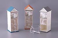 """Емкость для сыпучих продуктов 31 см. пластиковая """"Домик три этажа"""" в ассортименте"""
