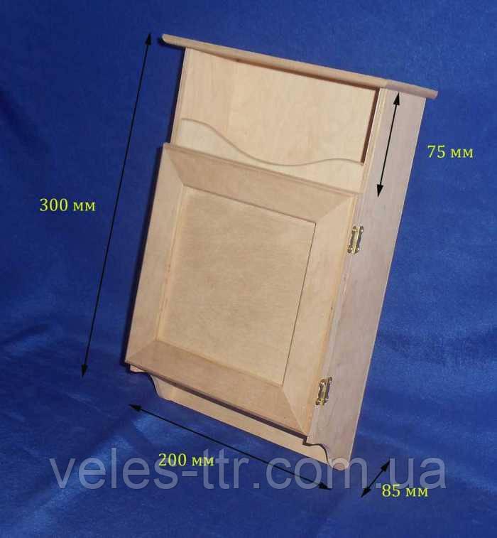 Ключница с дверкой и полочкой 20х30х8.5 см фанера заготовка для декора