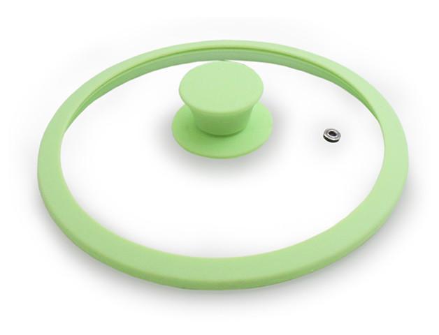 Крышка с закаленного стекла 24 см с силиконовым ободом Fissman Eden Зеленая (GL-9976.20)