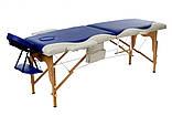 Масажний стіл двосегментний дерев'яний двоколірний, фото 2