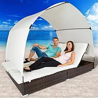 Лежак - диван из ротанга с крышей  Коричневый